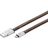 Goobay USB kábel 2.0 – micro USB csatlakozóval 1m barna (eredeti bőr borítású)