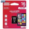 Goodram microSDHC 16GB Class 10 memóriakártya SD adapterrel Artisjus matricával - M1AA-0160R11