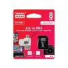 Goodram microSDHC 8GB Class 10 memóriakártya SD adapterrel, Micro USB / USB OTG kártyaolvasóval és Artisjus matricával