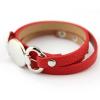 Gravírozható nemesacél - bőr karkötő - ezüst, piros színű, többsoros