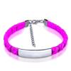 Gravírozható nemesacél - kötél karkötő  - ezüst, lila