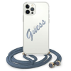 "Guess GUHCP12LCRTVSBL iPhone 12 Pro Max 6,7"" kék tok Script Vintage telefontok"