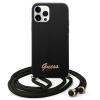 "Guess GUHCP12LLSCLMGBK iPhone 12 Pro Max 6,7"" fekete kemény tok Metal Logo Cord telefontok"
