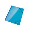 GUMIS mappa, 15 mm, karton, A4, lakkfényű, LEITZ Wow, kék