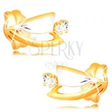 Gyémánt fülbevaló 14K aranyból - kétszínű háromszögek, átlátszó briliáns fülbevaló