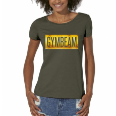 GymBeam Box Logo Military Green Gold női póló - GymBeam M