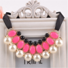 Gyöngy nyaklánc rózsaszín kövekkel esküvőkre, alkalmakra. 00014ec
