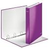 Gyűrűs könyv, 4 gyűrű, D alakú, 40 mm, A4 Maxi, karton, lakkfényű, LEITZ Wow, lila