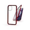 Haffner Apple iPhone 12 Mini mágneses, 2 részes hátlap előlapi üveggel - Magneto 360 - piros
