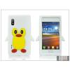 Haffner LG E610 Optimus L5 szilikon hátlap - 3D pinguin - fehér