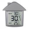 Ház alakú hőmérő, matt ezüst