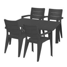 Hecht Anegada grafit kerti bútor szett 4+1 kerti bútor