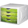 HELIT Irattároló, műanyag, 4 fiókos, HELIT Chameleon, fehér-zöld (INH6129650)