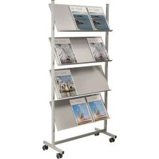 HELIT Katalógustartó állvány, mobil, 12 férőhelyes, HELIT, ezüst-szürke információs tábla, állvány
