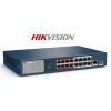 Hikvision DS-3E0318P-E/M PoE switch, 16x 10/100 PoE(135W) + 1x gigabit combo port, L2, nem menedzselhető