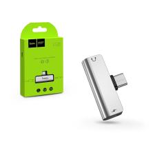 Hoco HOCO USB Type-C + 3.5 mm jack adapter egyidőben történő töltéshez és zenehallgatáshoz - HOCO LS26 2in1 Converter - ezüst mobiltelefon kellék