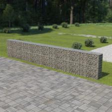 Horganyzott acél gabion fal fedéllel 600 x 30 x 100 cm kerti dekoráció