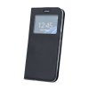 Huawei Smart Look Huawei P20 Lite oldalra nyíló bőrhatású ablakos könyv tok szilikon belsővel fekete