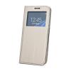 Huawei Smart Look Huawei P20 oldalra nyíló bőrhatású ablakos könyv tok szilikon belsővel arany