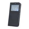 Huawei Smart Look Huawei P Smart oldalra nyíló bőrhatású ablakos könyv tok szilikon belsővel fekete