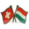 Hunbolt Kitűző, páros zászló Svájc-Magyar jelvény 26x15 mm