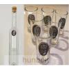 Hunbolt Ón Erdély címeres hosszú pálinkás üveg, 6db ón Erdély címeres pálnikás pohárral