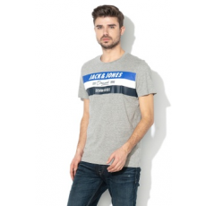 Jack Jones Jack&Jones, ShakeDowns regular fit mintás póló, melange szürke/kék/fehér, XL (12147691-LIGHT-GREY-MELANGE-XL)