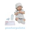 JC Toys Berenguer Nina élethű játékbaba újszülött lány, csíkos ruhában, kiegészítőkkel, 38 cm