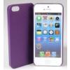 Jekod Shield bőrhatású műanyag  hátlaptok kijelzővédő fóliával Apple iPhone 5, 5S, SE-hez lila*