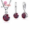 JEXXI 925 Sterling ezüst és cirkónium nyaklánc és fülbevaló szett, piros