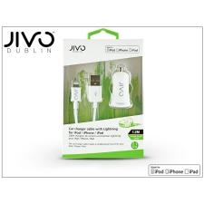 Jivo Apple iPhone 5/5S/5C/SE/iPad 4/iPad Mini Lightning szivargyújtó töltő adapter 1,2 m-es kábellel (Apple MFI engedélyes) - JIVO - 5V/2,1A - fehér tok és táska
