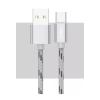 Kábel: Joway TC06 ezüst Type-C szövet adatkábel fém csatlakozóval 20cm 2A