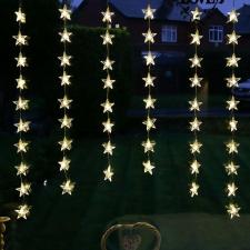 Karácsonyi beltéri csillagos fényfüggöny 1,5 x 1 m hideg fehér karácsonyi dekoráció