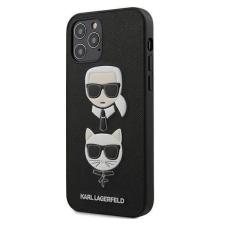 """Karl Lagerfeld 12/12 KLHCP12MSAKICKCBK iPhone Pro 6.1 """"fekete kemény tok Saffiano Ikonik Karl & Choupette vezetője telefontok tok és táska"""