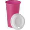 Kávéspohár tetővel, PP műanyag, pink