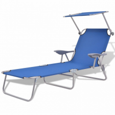 Kék acél napozóágy napellenzővel kerti bútor