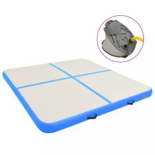 Kék PVC felfújható tornamatrac pumpával 200 x 200 x 15 cm jóga felszerelés