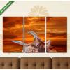 Képáruház.hu Kagyló a parton narancsszínű égbolttal(125x70 cm, L01 Többrészes Vászonkép)