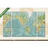 Képáruház.hu Premium Kollekció: Amerika központú fizikai világtérkép. Vintage szín. Nincs szöveg(135x80 cm, W01 Többrészes Vászonkép)