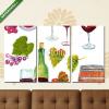 Képáruház.hu Premium Kollekció: Watercolor wine set with hand drawn bottles, glasses, grapes etc(125x70 cm, L01 Többrészes Vászonkép)
