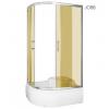Kerra AZALIA 120 íves aszimmetrikus mélytálcás zuhanykabin,jobbos beépítési oldallal barna füstös üveggel, 120x80x195 cm-es méretben