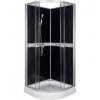 Kerra CLASSIC íves zuhanykabin fekete hátfallal, 80x80x209 cm-es méretben