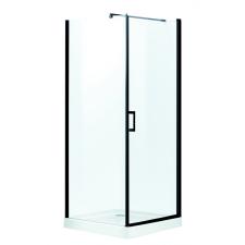 Kerra Lagos szögletes zuhanykabin tálcával, 79x79x206cm - fekete profil, víztiszta üveg fürdőszoba kiegészítő