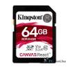 Kingston 64GB SD Canvas React (SDXC Class 10  UHS-I U3) (SDR/64GB) memória kártya