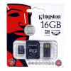 Kingston Memóriakártya, Micro SDHC, 16GB, Class 4, SD+USB adapterrel, KINGSTON