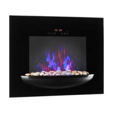 Klarstein Feuerschale, elektromos fali kandalló, 1800 W, valósághű lángok, díszkövek, fekete kályha, kandalló