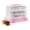 Klarstein Klarstein Pinkkäppchen XL, rózsaszín, süteményes doboz, muffin tartó, 36 db, 34,5 x 25 x 25,5 cm