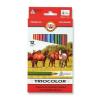 """KOH-I-NOOR Színes ceruza készlet, háromszögletű, vastag, KOH-I-NOOR """"Triocolor Lovas 3142/12"""", 12 különböző szín"""
