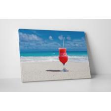 Koktél a tengerparton grafika, keretezett kép
