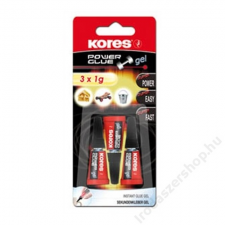 KORES Pillanatragasztó gél, 3x1 g, KORES Power Glue Gel (IK26342) barkácsolás, csiszolás, rögzítés